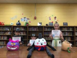 Pumpkin Decorating Contest Winners (Cheshire Cat, Humpty Dumpty, & James and the Giant Peach!)
