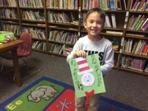 Celebrating Dr. Seuss' birthday with some crafts in the first grade!