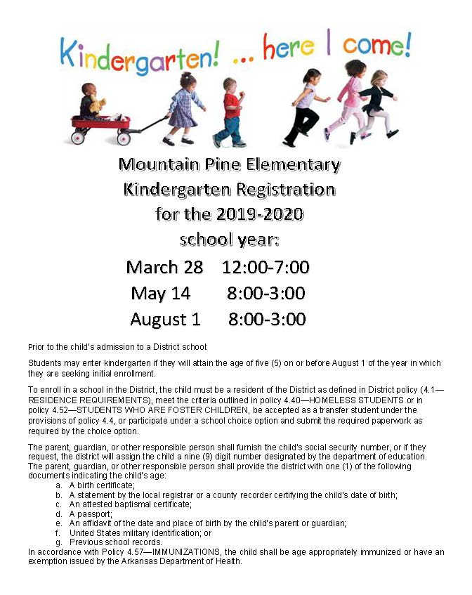 KINDERGARTEN ENROLLMENT 2019-2020