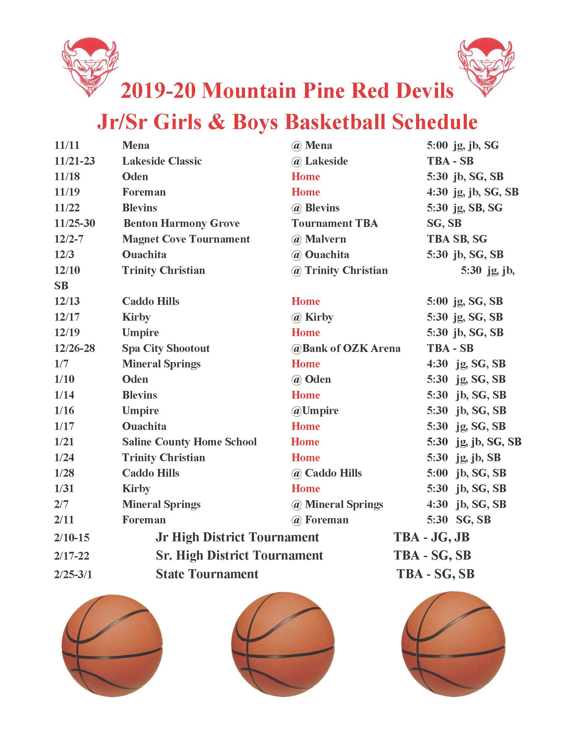 2019-20 Basketball Schedule