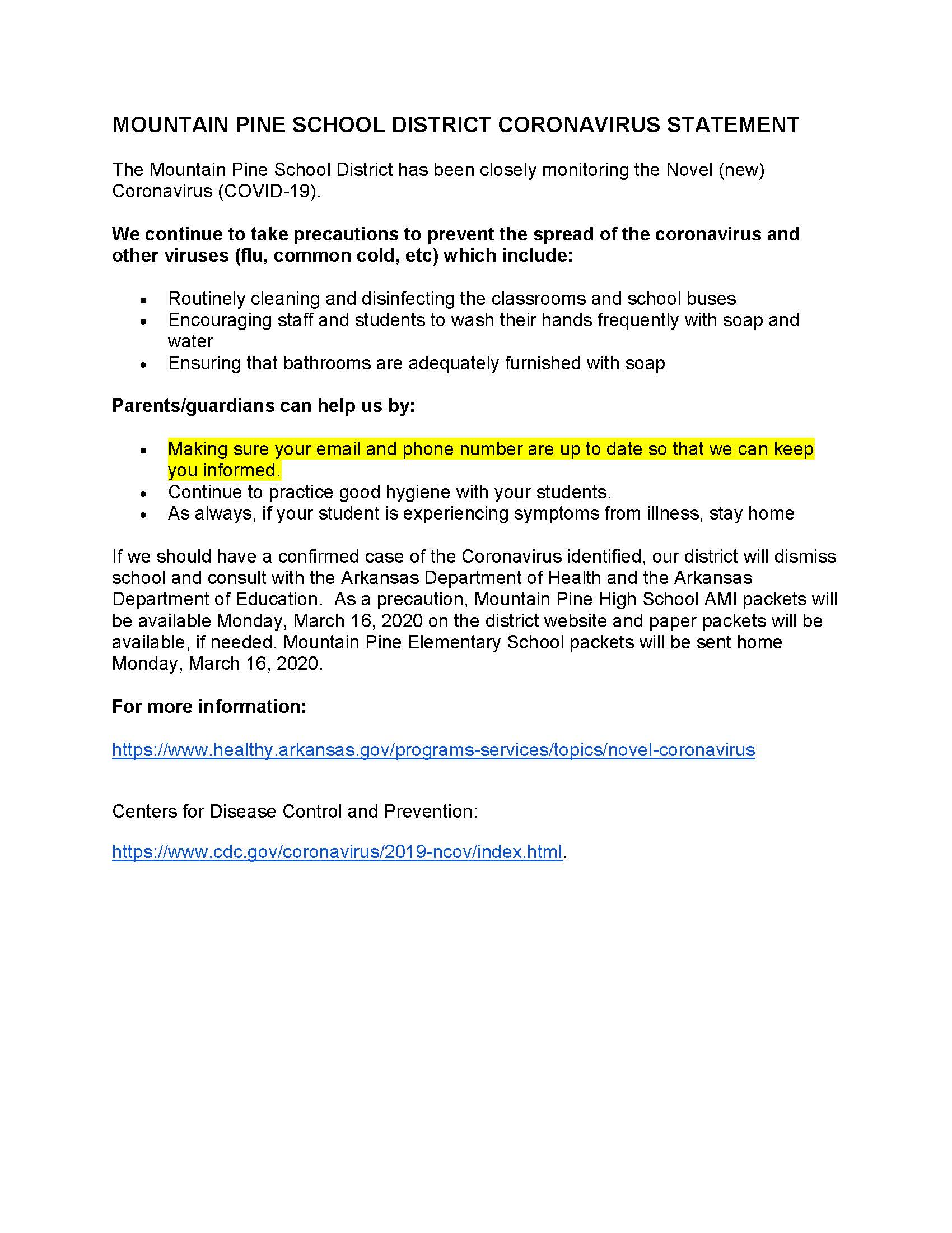 MOUNTAIN PINE SCHOOL DISTRICT CORONAVIRUS STATEMENT