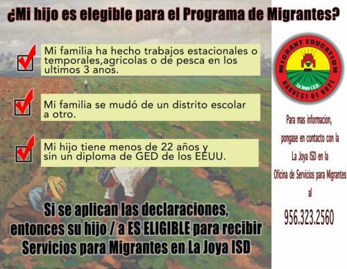 Migrant Eligibility Spanish