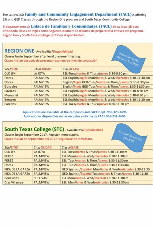 ESL and GED Schedule