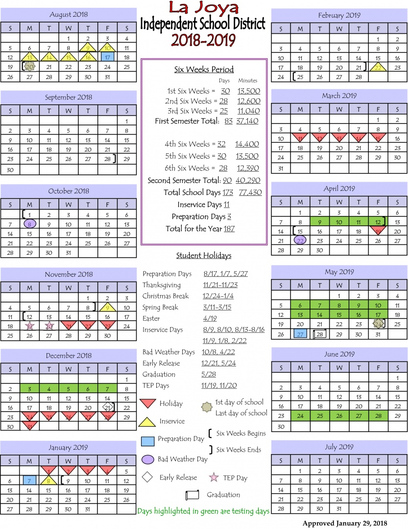 Uisd Calendar 2020-2021 La Joya ISD   LJISD Calendar 2018 2019
