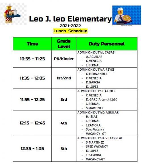 Lunch Schedule Leo Elem.