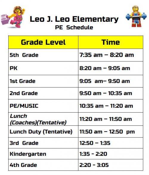 PE Schedule Leo elem.