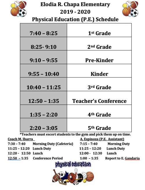 P.E. Schedule