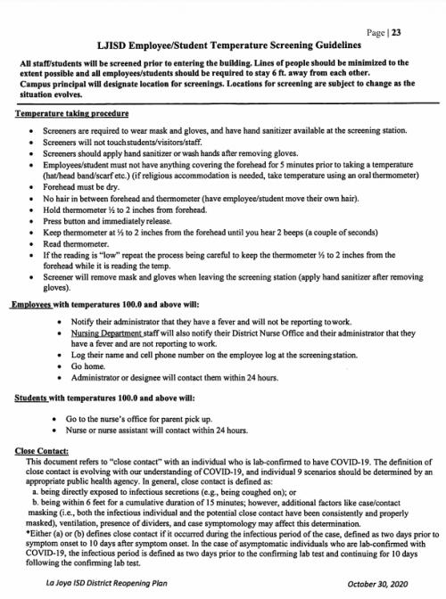 LJISD Employee Student Temperature Screening Guidelines