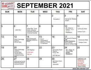 September 2021 FACE Calendar