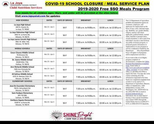 Schedule of Grab & Go Meal Program