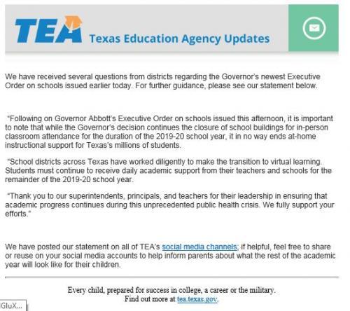 TEA School Closure Statement for EOY