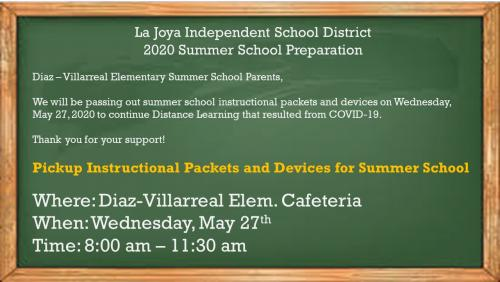 Summer School Material and Device pick-up information.