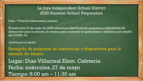 Summer School Material and Device pick-up information.in Spanish