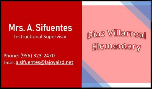 Contact: A. Sifuentes, Instructional Supervisor