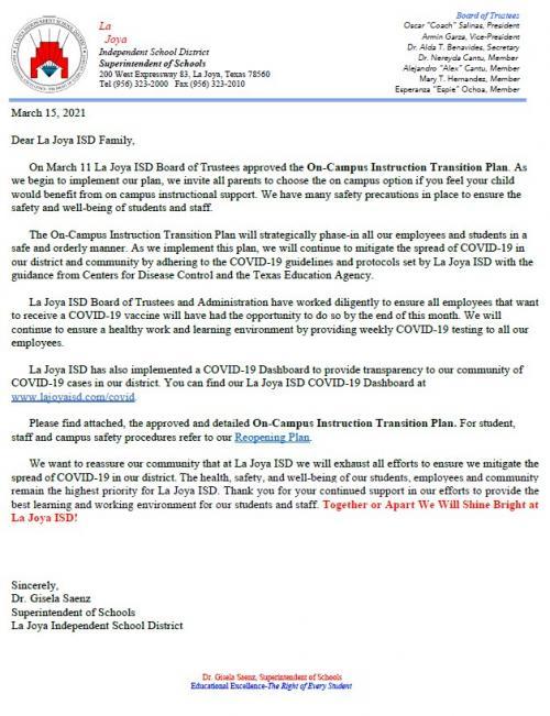 On campus parent letter Mar 15