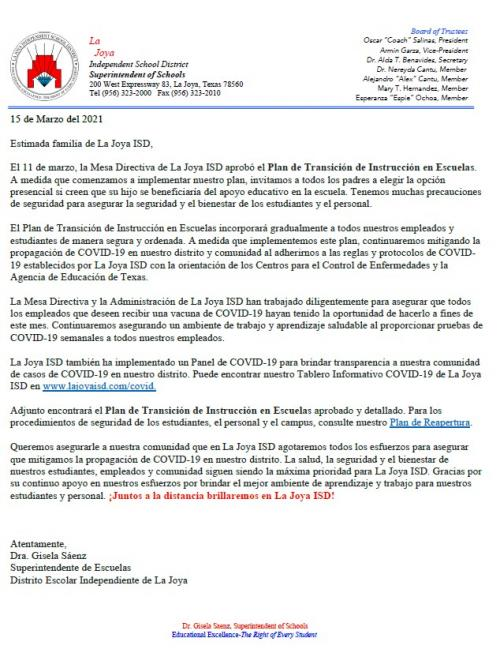On campus Letter -Spanish Mar15