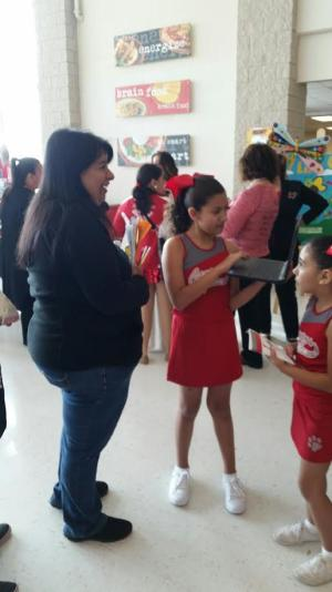 Talking to parents at Why La Joya Event
