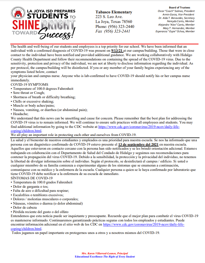 COVID-19 Notification - 09-13-2021