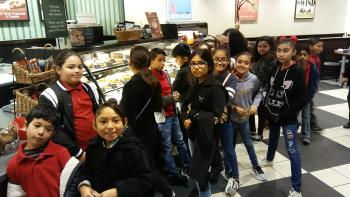 Perez Elementary students at Barnes and Noble getting a sweet treat