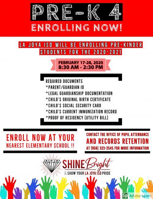 Pre-K registration flyer.