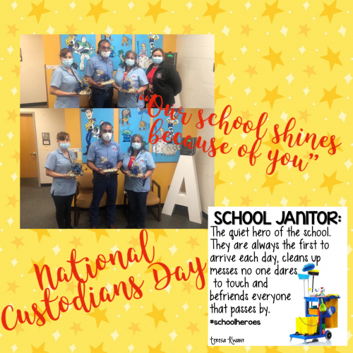 national's custodians day, pictured custodians with basket