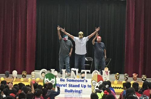 luchadores come to Clinton to talk to students about being a buddy not a bully