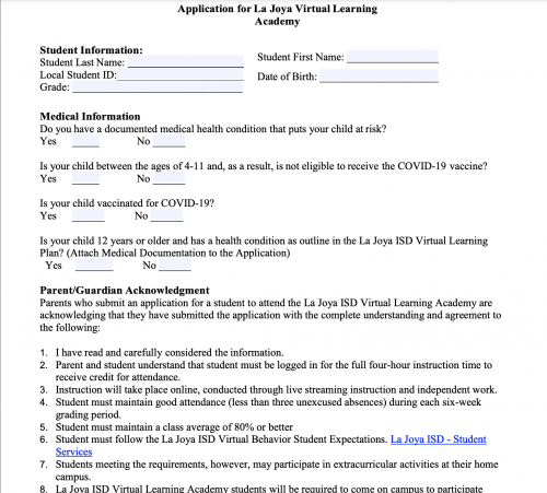 Application for Virtual Learning Academy