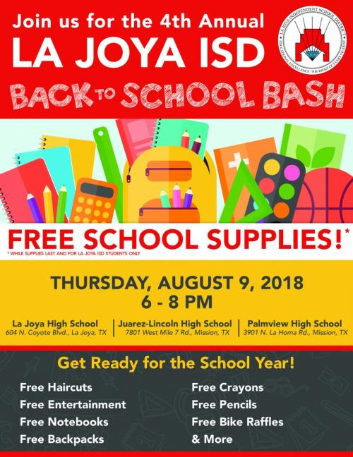Back to school bash, free school supplies
