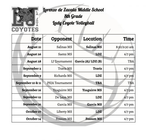 Lorenzo de Zavala Middle School 8th Grade Lady Coyote Volleyball Schedule
