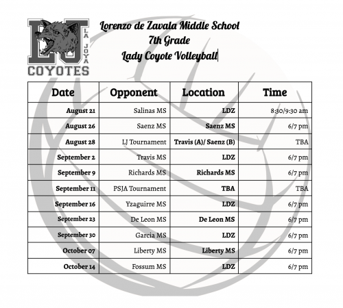 7th Volleyball schedule