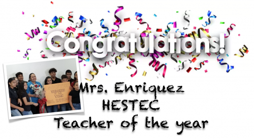 Mrs Enriquez HESTEC teacher of the year