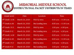 Memorial Middle School Instructional Packet Distribution Times