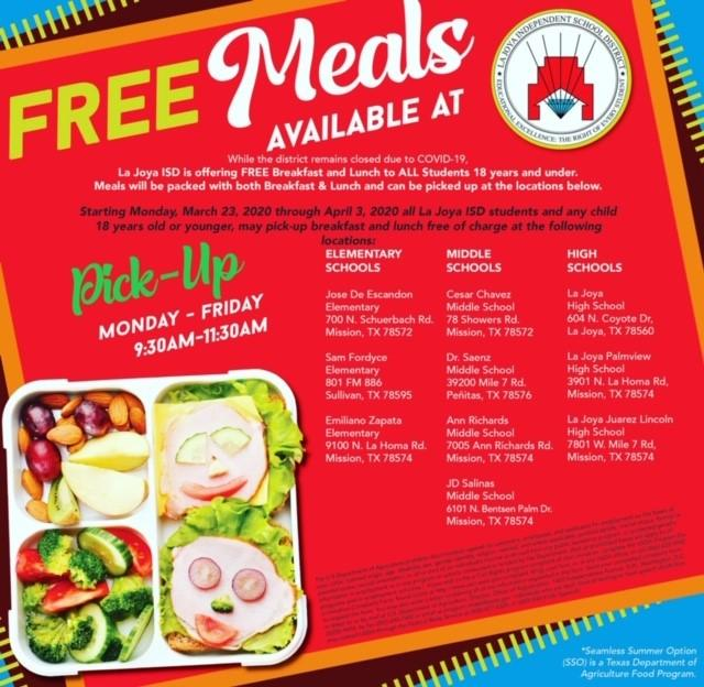 La Joya Offers Free Meals to Students 18 years and younger