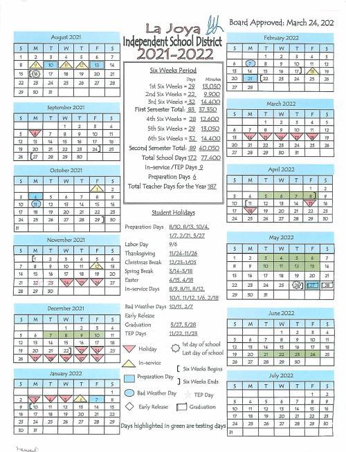 Aademic Calendar 2021-2022