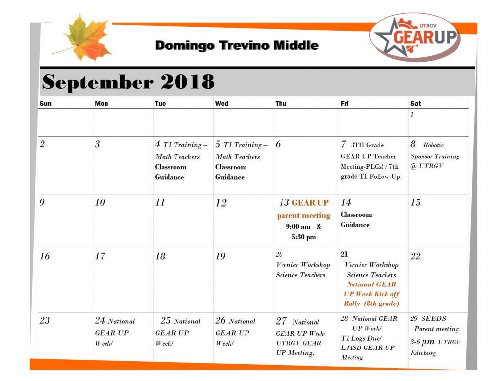 GearUp September Calendar
