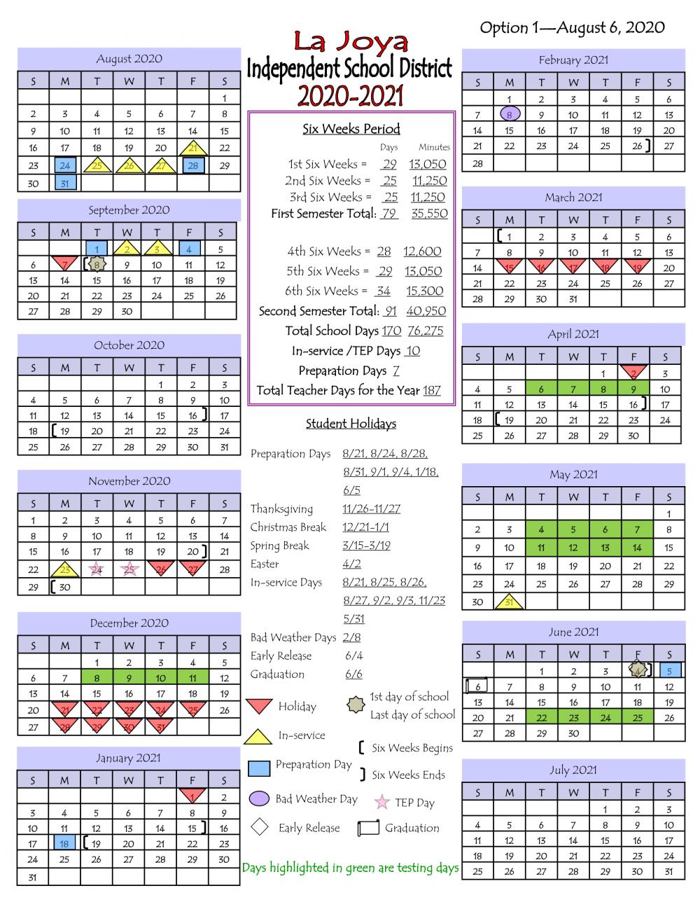 2020-2021 LJISD School Calendar