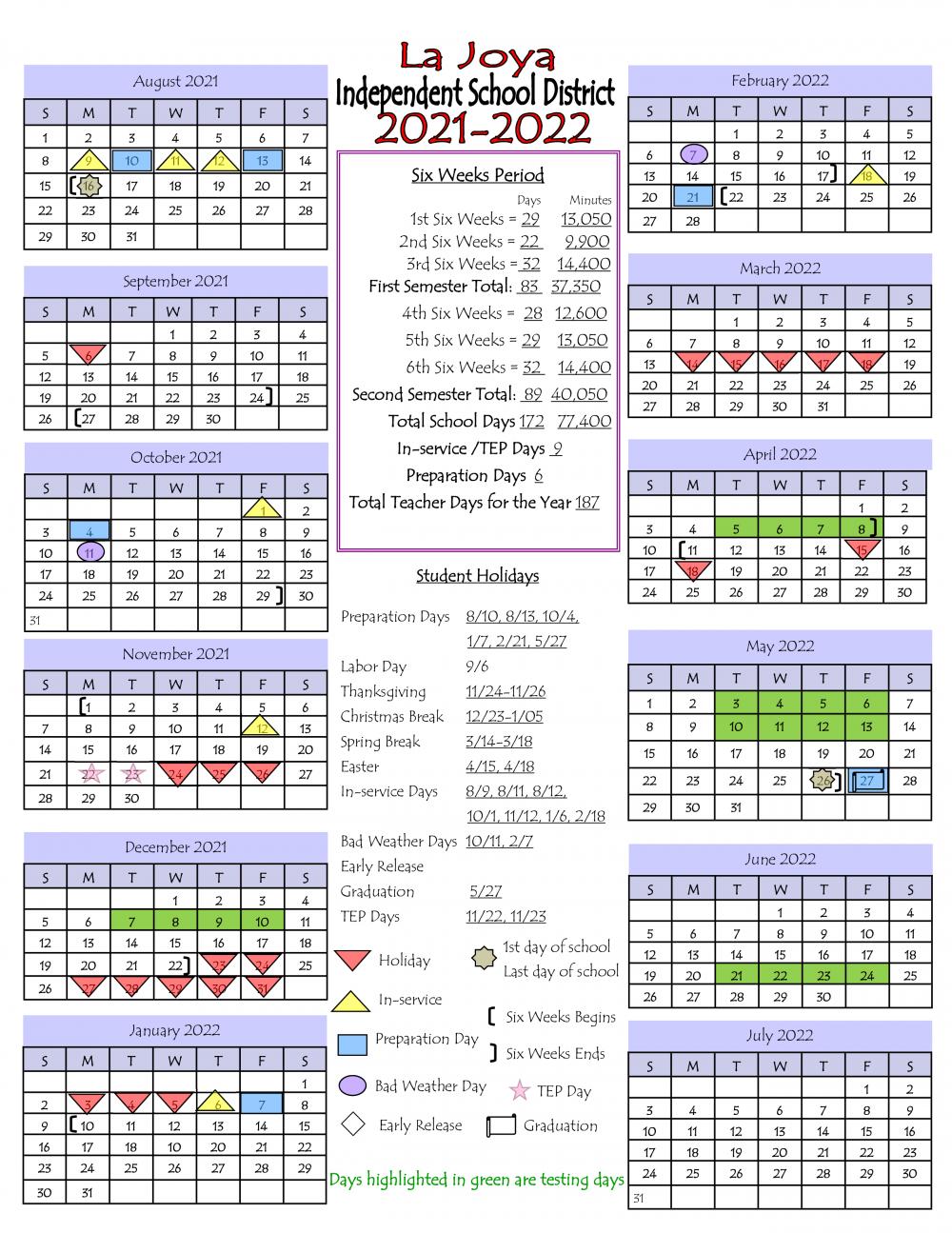 2021 to 2020 La Joya ISD District Calendar