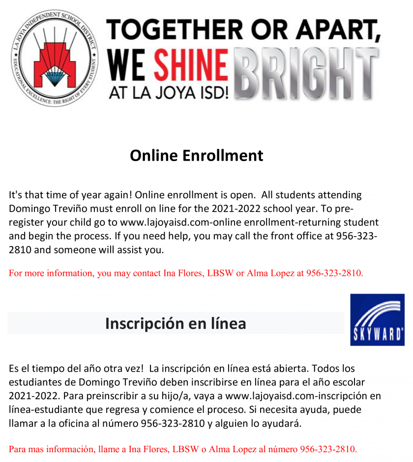 2021-2020 Open Enrollment Click to enroll your child now