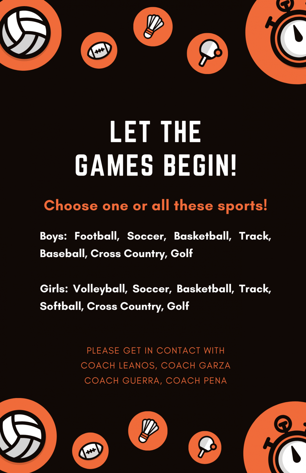 Join a sport and come be part of our athletic team!