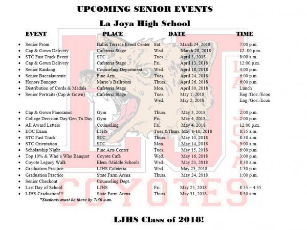 senior graduation schedule