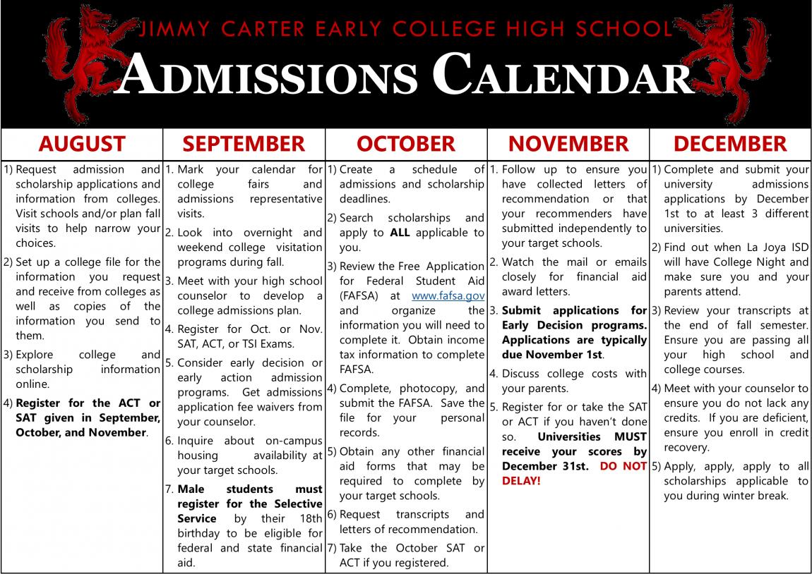 Senior Admissions Calendar 1