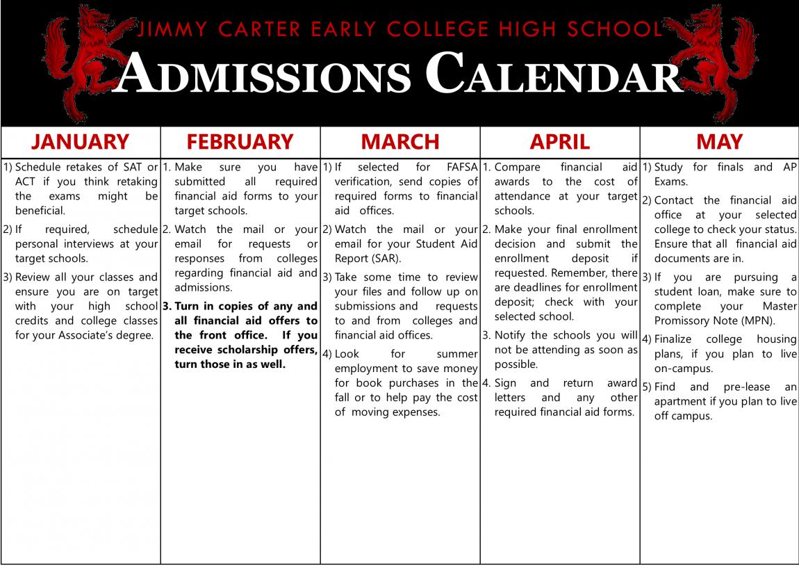 Senior Admissions Calendar 2