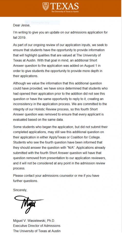 UT Austin Update for Admissions Application for Fall 2019