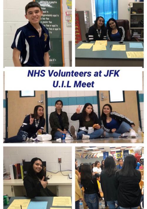 NHS members volunteering at J.F.K Elementary U.I.L Meet
