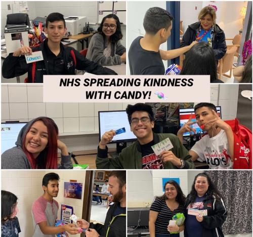 NHS Members spread kindness by passing out kind notes and candy!