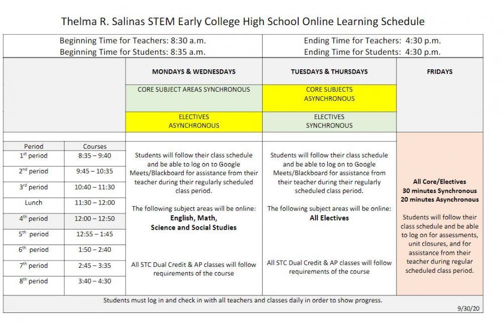 Salinas STEM ECHS Online Learning Schedule - 2020-2021
