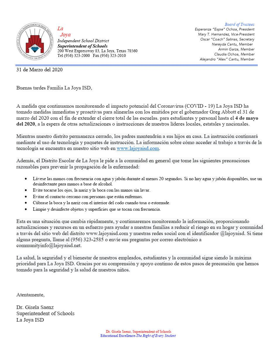 La Joya ISD Extended Closure as of March 31, 2020