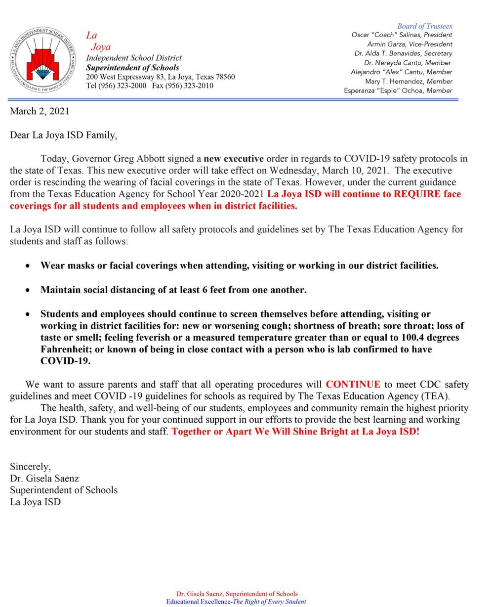District Notice About Face Masks Still Being Required in District Facilities