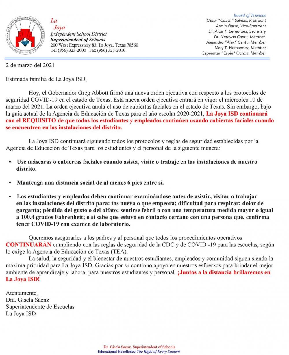 District Notice About Face Masks Still Being Required in District Facilities in Spanish