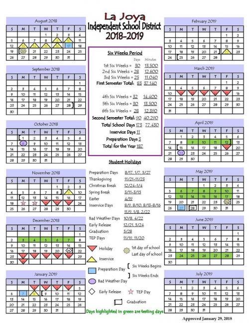 2018-19 LJISD SCHOOL CALENDAR